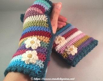 Daisy Rainbow Wrist Warmers