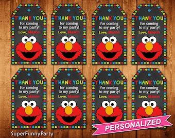 Elmo Favor Tags, Sesame Street Thank You Tags, Elmo Thank You Tags, Elmo Printable, Personalized, Digital File