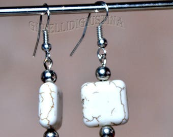 Natural stone drop earrings finished in silver