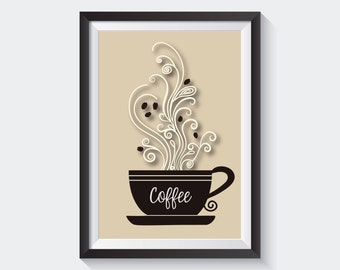 Coffee Cup With Swirls Print, Digital Print, Instant Download, Kitchen Wall Art, Modern Home Decor, Kitchen Decor, Coffee Wall Art - (D018)