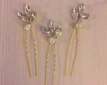 Gold Hair Pins, Rhinestone Hair Pins, Bridal Hair Pins, Wedding Hair Pins, Gold Leaf Hair Pins, Rhinestone Leaf Hair Pins-Norah