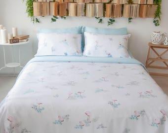 Flamingo bedding pink flamingo print Soft bamboo bedding flamingos queen king comforter boho comforter full bohemian comforter soft linens