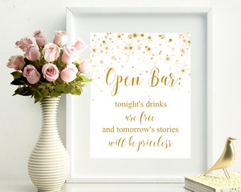 SALE 60% Open Bar Sign Printable Gold, Instant Download, Printable Wedding Sign,  Instant download, wedding decor.