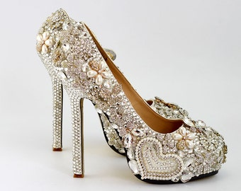 Cute Heart Love Woman Party Shoes Floral Rhinestone Wedding Heels Bling Platform Shoes Luxury Prom Party High Heels Bridesmaid Shoes