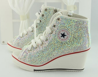AB Colorful Diamond Bling Canvas Shoes Crystal Wedge Canvas Shoes Woman Wedding Custom Design Sneaker Shoes Bridesmaid Wedge Shoes