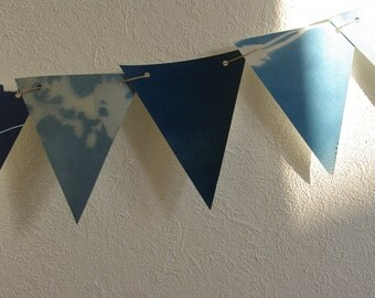 Garland flags Cyanotype