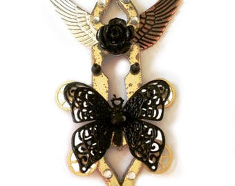 """Steampunk / victorian pendant - necklace """"the two sides in us"""""""