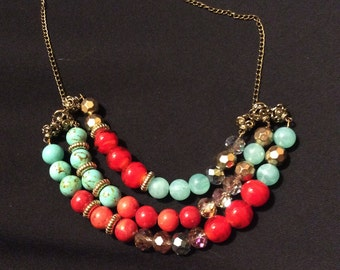 Multi Strand Blue, Red, and Gold Necklace