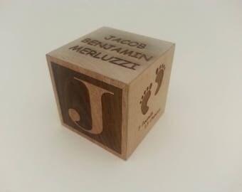 Baby Block for a newborn custom engraved