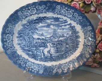 Stunning Blue & White Ironstone English Oval Display Plate/Transferware/Hand Painted