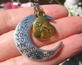 I Love You to the Moon and Back Mom Necklace  Heart Charm Mother Mothers Day Mothers Day Gift Present Family Love Womens Jewelry Jewellery