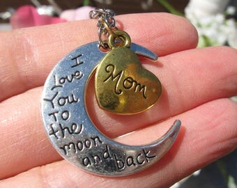 I Love You to the Moon and Back Mom Necklace   Heart Charm Mother Mother's Day Mothers Day Gift Present Family Love Womens Jewelry Jewellery
