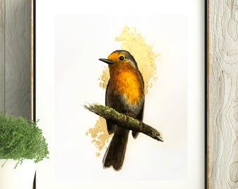 Original Watercolor Animal Portrait, Little Bird Painting with Gold Foil