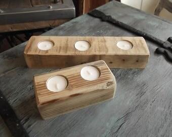 reclaimed wood tea lightt holders