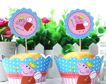 12 sets of peppa the pig  inspired cupcake toppers and wrappers,inspired peppa the pig party decoration