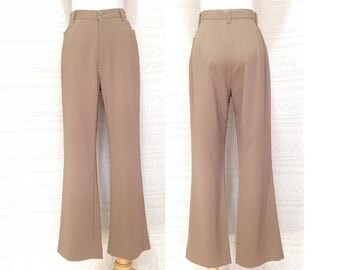 "Vintage trousers S / M ""Whitney"" Beige high waisted trousers, khaki straight leg trousers, vintage pants, us size 8 10, 90s basic clothing"