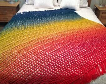 Crochet large outback blanket, throw, wrap, handmade, fringe