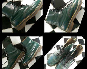 Awesome UK 6 grunge forest green leather Dr docs martens boots 8up goth original made in England
