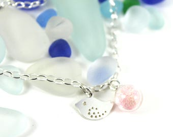 "DIY Breast Milk Sterling Silver Mother and Baby Bracelet,""Milk Dust Series"" Do it Yourself DNA Breastmilk keepsake"