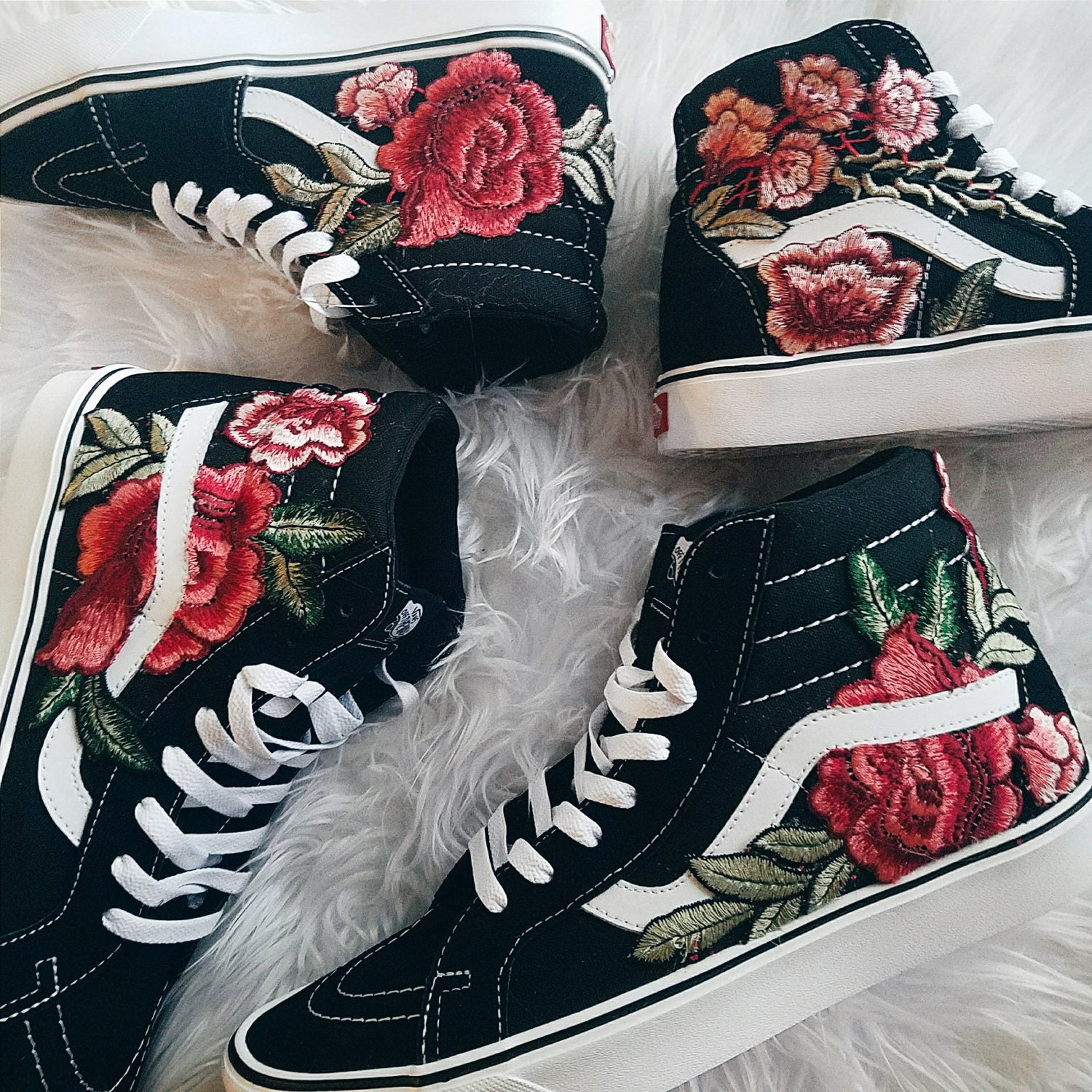 5016fd660ddd Unisex Custom Rose Floral Embroidered Patch Vans Sk8-HI