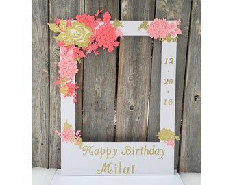 Birthday giant photo booth frame prop - coral, pink and gold, customized message with name and date