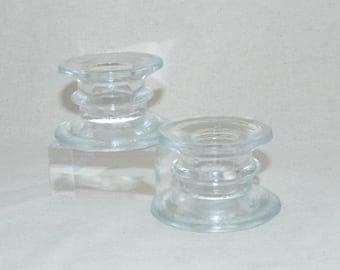 Glass Candle Holders - scrying - Pagan - witchcraft - wicca - vintage - decorative - gift