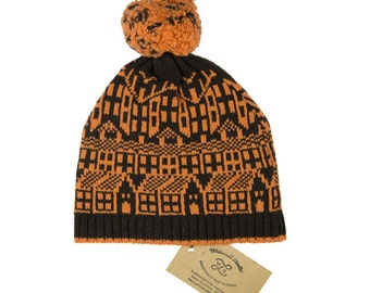 Cashmere knitted hat with pom-pom - Hebden Houses fairisle pattern - Luxury beanie - machine knitted - brown and pumpkin bobble hat