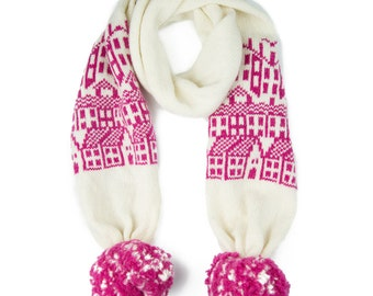 Cashmere scarf with pom-poms - knitted fairisle pattern - luxury scarf - Hebden houses - wool pom pom scarf