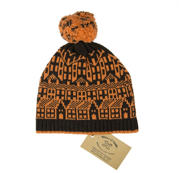 Cashmere knitted hat with pom-pom Hebden Houses fairisle