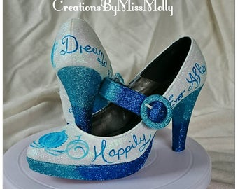 Cinderella Inspired Customised Wedding Shoes/ Disney Shoes/ Wedding Shoes/ Prom Shoes/ Glitter Shoes/ Sparkly Shoes