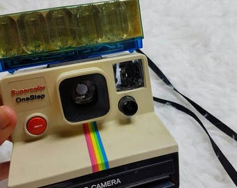 Vtg 80's Polaroid Supercolor Onestep Camera, Polaroid Rainbow Stripe Camera, Classic Eighties Polaroid Camera, Polaroid Camera Untested
