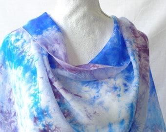 Blue and purple silk scarf, long silk scarf, hand dyed silk scarf,gift for women,elegant silk scarf.