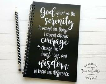 Writing journal, spiral notebook, sketchbook, bullet journal, black white, recovery journal, blank lined grid - Serenity prayer