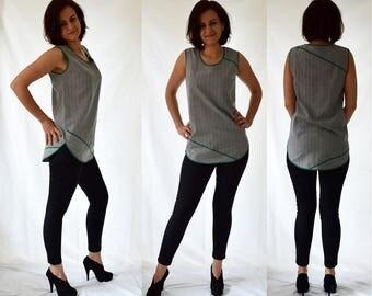 Grey sleeveless, tube, asymmetrical top, blouse, vest. Size UK 12 / US 8