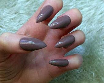 Chocolate Stiletto Fake Nails