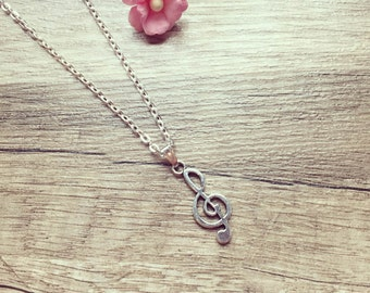 Short chain clef silver, stainless steel, clef, vintage, blogger, statement