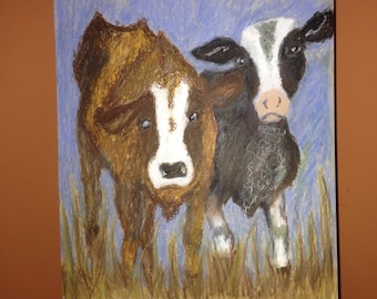 Oil pastel painting ..Cow watching....