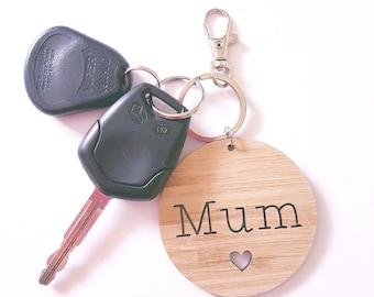 Mum Keyring Bag Tag- Wood-Bamboo-Mothers Day