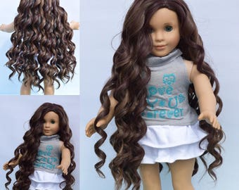"Custom Doll Wig 10-11"" Moana Inspired Heat Safe fits Ag Dolls Gotz Journey Girls Color- Cocoa Swirl @EDD"