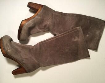 Vintage 90's European leather platform heeled clog boots