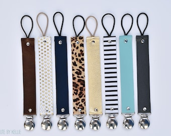Genuine Leather, Binky Clip, Pacifier Clip, Leather Binky Strap, Leather Paci clip, Teething Toy Strap, Various Patterns