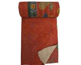 Vintage Kantha Quilt ,Kantha Throw ,Reversible Kantha Blanket