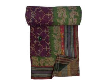 Handmade Cotton Vintage Kantha Quilt,bohemian Kantha Quilt