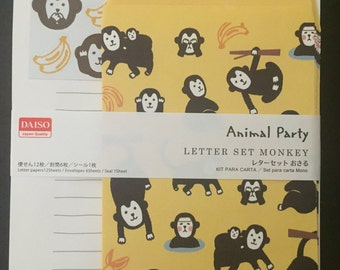 Monkey stationary letter set, Japanese design, 12 sheets, 6 envelopes and stickers