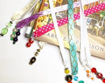 Beaded bookmark, ribbon bookmarks, bookmark for books, book lover gift, planner accessories, planner bookmark, planner page marker