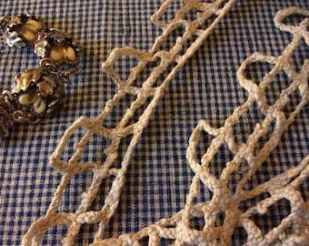 beautiful rustic, old lace, hemp