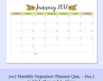 A4 & LETTER SIZE 2017 Printable Calendar Planner/Organizer