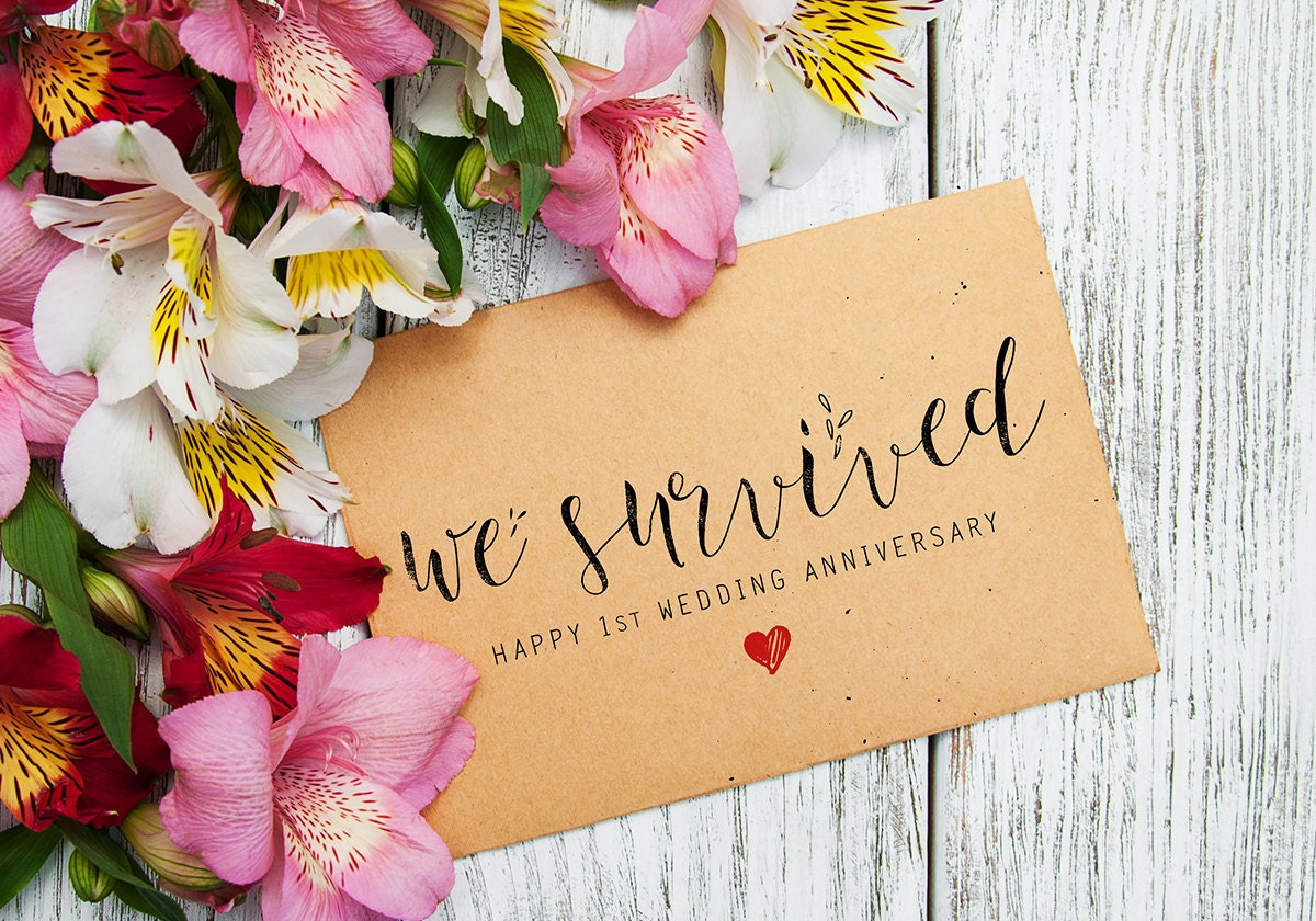 First Wedding Anniversary Card Instant Download Printable