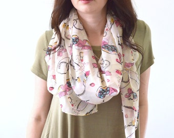 SALE Woman Chiffon Lipstick Printed Scarf, Summer Scarf, Fashion Scarf, Woman Scarf, Mother's Day