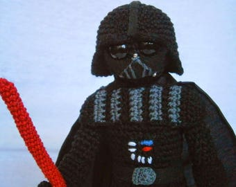 Amigurumi Darth Vader - Star Wars inspired amigurumi action figure - Darth Fener doll